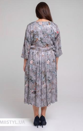 Платье Tessy 6414 Серый/Розовый/Принт