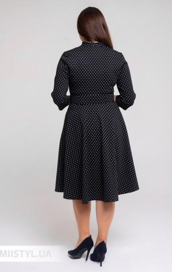 Платье L.Hotse 5851 Черный/Белый/Горох