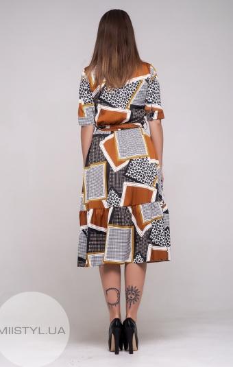 Платье La Julyet 6312 Белый/Терракотовый/Принт