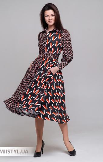 Платье Behcetti 14640 Черный/Красный/Принт