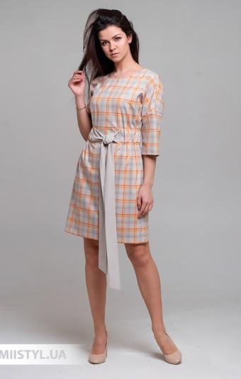 Платье Mira Mia 206009 Бежевый/Оранжевый/Клетка