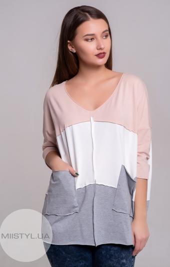 Блуза Giocco 5324 Пудра/Серый
