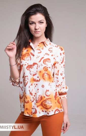 Блуза SHN 4540 Белый/Терракотовый/Принт