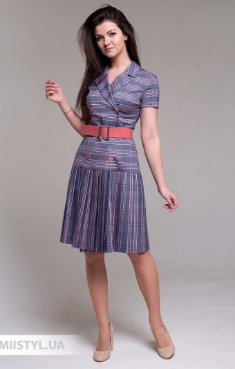Платье Lady Morgana 5027 Серый/Коралловый/Клетка