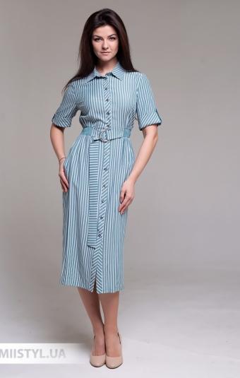 Платье F&K 3480 Мятный/Белый/Полоска