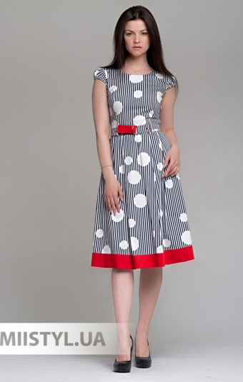 Платье Lafilazzi 4092 Белый/Темно-синий/Полоска