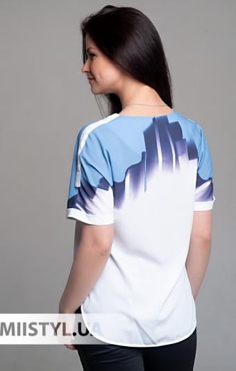 Блуза Cliche 0014410 Молочный/Голубой/Принт
