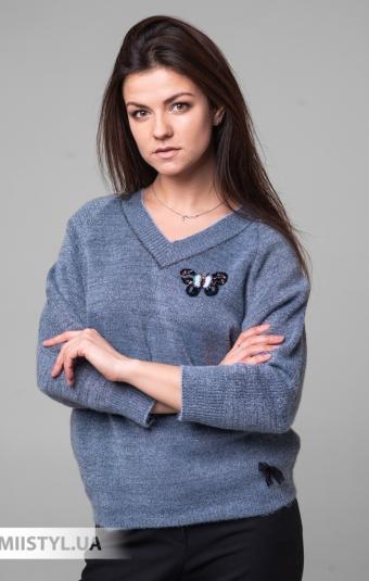 Джемпер короткий рукав Serianno 10C6010 Серый/Голубой/Люрекс