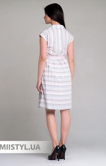 Платье Lafilazzi 4004 Белый/Пудра/Полоска