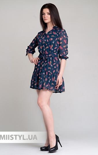 Платье Lady Form 1225 Синий/Красный/Принт