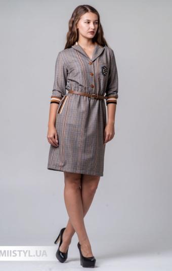 Платье Lady Morgana 4924 Бежевый/Терракотовый/ Клетка