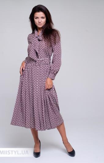 Платье Naam 1003 Бежевый/Марсала/Принт