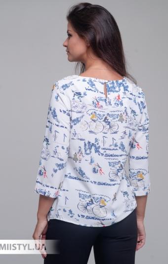 Блуза Merkur 0545048 Белый/Синий/Принт