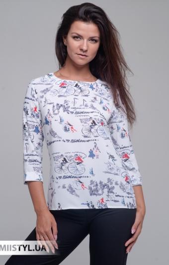 Блуза Merkur 0545048 Белый/Серый/Принт