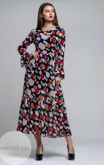 Платье Moskalla 91045 Черный/Красный/Принт