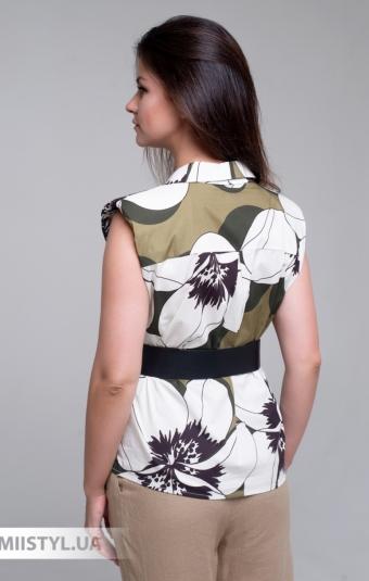Блуза Lumina L1405 Белый/Хаки/Принт