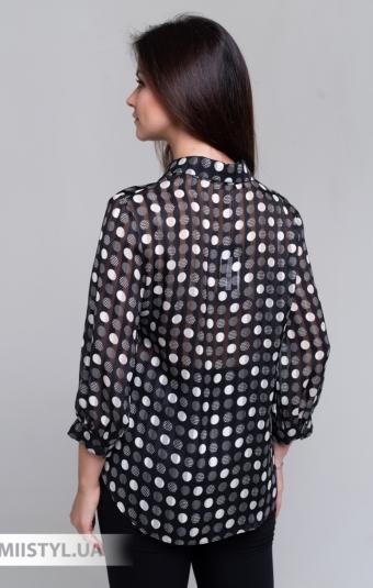Блуза Merkur 0496013 Черный/Белый/Горох