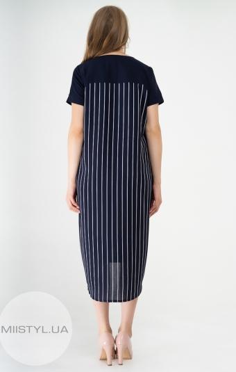 Платье Stella 7497-03 Темно-синий/Белый/Полоска