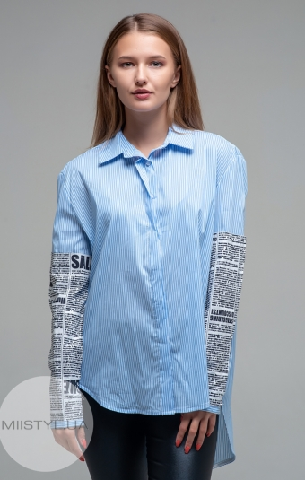 Блуза Lumina 6179 Голубой/Белый/Полоска