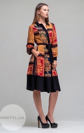 Платье Chocolate 8640 Черный/Горчичный/Принт