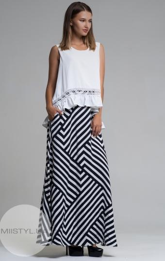 Платье La Julyet 6095-1 Белый/Черный/Полоска