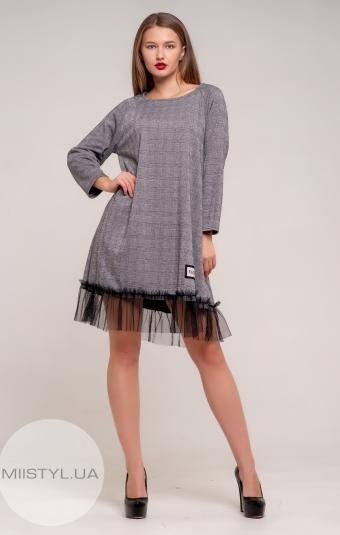 Платье One Love 8578 Серый/Клетка