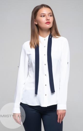 Блуза Moda Linda 1873 Белый/Темно-синий