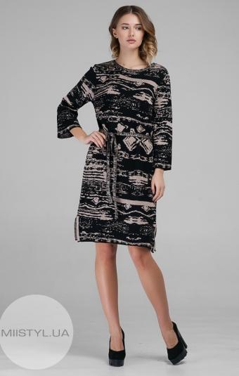 Платье Serianno 10C3674 Черный/Пудра/Принт