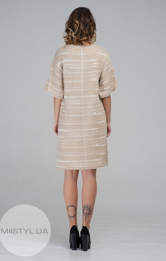 Платье Serianno 10C3844 Бежевый/Люрекс