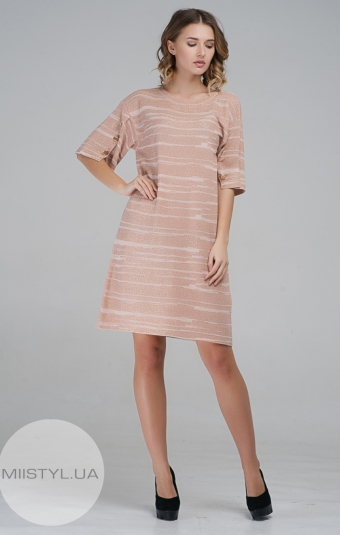Платье Serianno 10C3844 Пудра/Люрекс