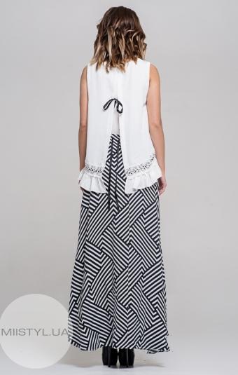 Платье La Julyet 6095-1 Белый/Синий/Полоска