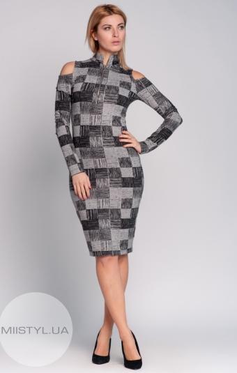 Платье La Fama 754 серое/черное