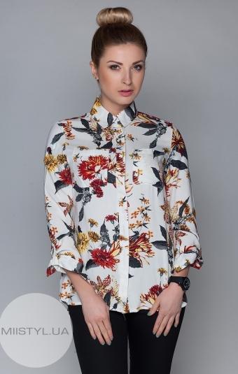 Блуза TAN 8574 молочная/жёлтый принт
