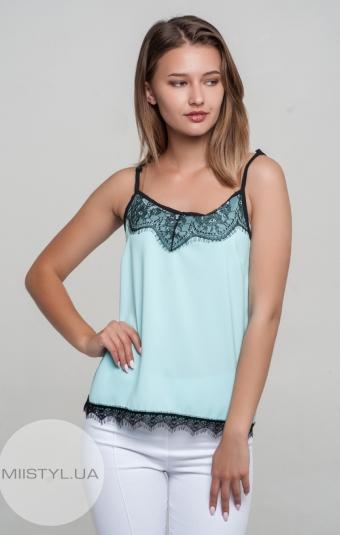 Блуза La Fama 1107 Мятный/Черный/Принт