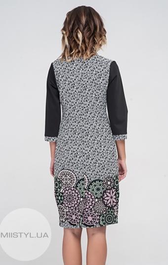 Платье Lafilazzi 3475 Черный/Молочный/Принт