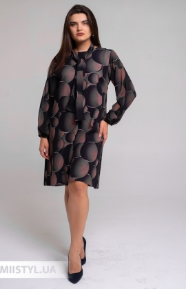 Платье La Fama 1606BB Черный/Бежевый/Принт