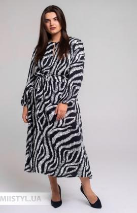 Платье Piena 6325BB Черный/Белый/Принт