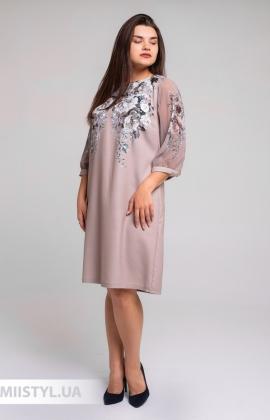 """Платье D""""She 8458 Бежевый/Принт"""