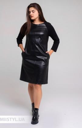 Платье F&K 3530BB Черный/Кожа