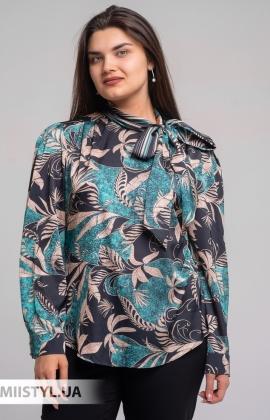 Блуза SHN 4602713 Черный/Зеленый/Принт