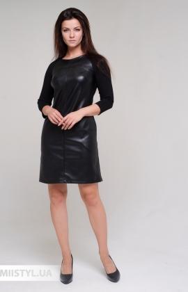 Платье F&K 3530 Черный/Кожа