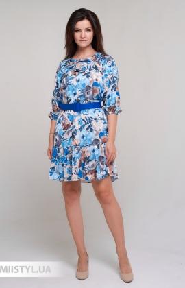 Платье Roxelan 7035 Песочный/Голубой/Принт