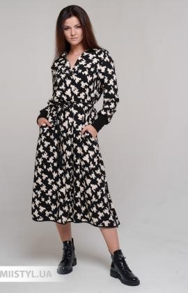 Платье Mira Mia 216005 Черный/Молочный/Принт