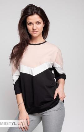Блуза Giocco 7042 Пудра/Черный