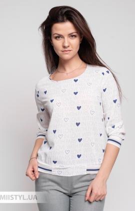 Блуза Fusion 53803A Белый/Синий/Принт