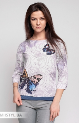 Блуза Cliche 4144740 Бежевый/Темно-синий/Принт