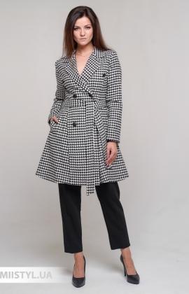 Пальто F&K 5210 Черный/Белый/Лапка