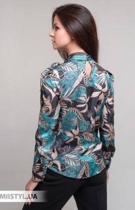 Блуза SHN 4601713 Черный/Зеленый/Принт