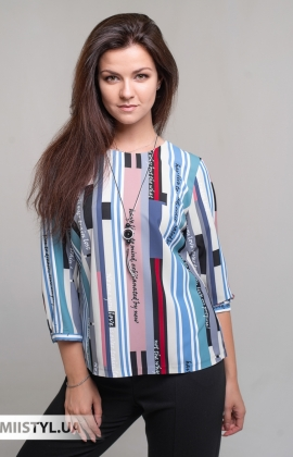 Блуза Shefly 13006 Бежевый/Бирюзовый/Принт