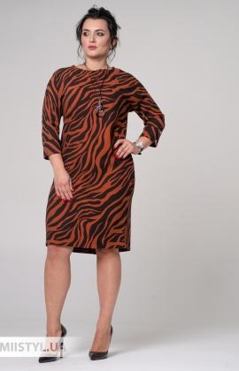 Платье La Fama 8056B Черный/Терракотовый/Принт